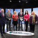 Colum Eastwood SDLP, Steven Aiken UUP, Michelle OÕNeill Sinn Fein, Emma Little-Pengelly DUP and Naomi Long Alliance at Sunday's UTV Election Debate, moderated by Marc Mallett. Photo by Kelvin Boyes / Press Eye.