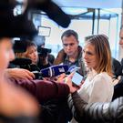 Norway's Linda Hofstad Helleland, a member of the World Anti-Doping Agency (WADA) foundation board, answers journalists following a meeting of WADA's executive committee as Russia were banned from global sporting events
