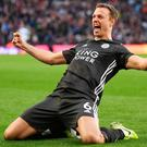 Jonny Evans netted only his second Premier League goal for Leicester in Sunday's routine win at Aston Villa.