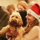 Caroline Price with her dog Penny during the annual Peata therapy dog carol service at Christ Church Cathedral in Dublin (Niall Carson/PA)