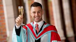 Jonathan Rea MBE received an honorary doctorate from Queen's University Belfast