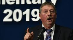 Sammy Wilson at the General Election count at the Titanic Exhibition Centre in Belfast. Pic Colm Lenaghan/Pacemaker