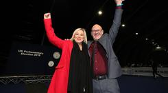 Michelle O'Neill and Paul Maskey pictured at the count centre. Photo by Kelvin Boyes / Press Eye.
