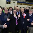 Sir Jeffrey Donaldson has held his seat in Lagan Valley pictured at the count centre in Meadowbank Sports Arena, Magherafelt. Picture By: Arthur Allison/Pacemaker Press