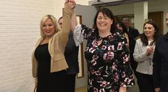 Sinn Fein's Michelle Gildernew pictured with Michelle ONeill at the count centre in Omagh after winning the Fermanagh and South Tyrone seat. Photo by Stephen Hamilton / Press Eye.