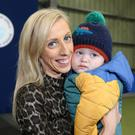 The DUP's Carla Lockhart is returned as MP for Upper Bann and is pictured with her baby boy Charlie. Photo by Jonathan Porter / Press Eye.