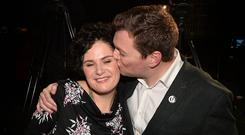 SDLP South Belfast MP Claire Hanna congratulated by husband Donal Lyons. Pic Colm Lenaghan/Pacemaker