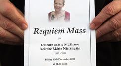 The funeral of Deirdre McShane who died during a swimming accident at Ballycastle beach on Monday. Credit: Freddie Parkinson