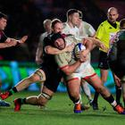 Ulster's Tom O'Toole drives for the line against Harlequins (Adam Davy/PA)