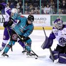 Belfast Giants winger David Goodwin scores his second goal against the Glasgow Clan at the SSE Arena (William Cherry/Presseye)