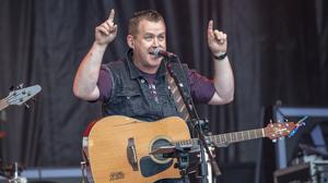 Marty Mone entertains revellers at last night's Farmers Bash Country Drive-In at Ballymena Showgrounds