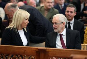 Press Eye Northern Ireland  Wednesday 24th April 2019   Sinn Fein leader Michelle and Labour party leader Jeremy Corbyn pictured at the funeral and service of thanksgiving for the life of  journalist Lyra McKee at St AnneÄôs Cathedral, Donegall Street, Belfast.  Lyra McKee was murdered in Creggan in Derry on Thursday 18th April.  Photo by Kelvin Boyes / Press Eye.