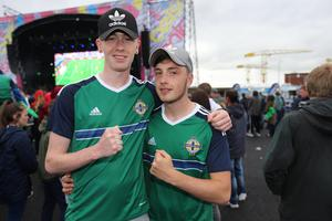 Football fans out at the Titanic Fanzone to watch Northern Ireland beat Ukraine during the 2016 Euro Championship. Thursday 16th June 2016. Liam McBurney/RAZORPIX