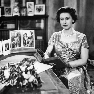 File photo dated 25/12/57 of Queen Elizabeth II, in the Long Library at Sandringham, after making the first televised Christmas day broadcast to the nation. The Queen is holding the copy of 'Pilgrim's Progress', from which she read a few lines during her message as she turns 90 on the April 21st. PRESS ASSOCIATION Photo. Issue date: Sunday April 3, 2016. See PA story ROYAL Birthday. Photo credit should read: PA Wire
