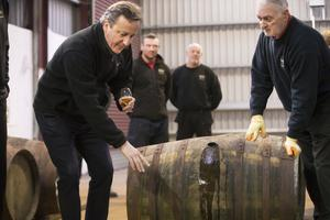 Picture - Kevin Scott / Presseye  Bushmills, UK - February 27, Pictured is UK Prime Minster David Cameron as he visits the Old Bushmills distillery in Bushmills on February 27, 2016  Belfast, Northern Ireland ( Photo by Kevin Scott / Presseye )