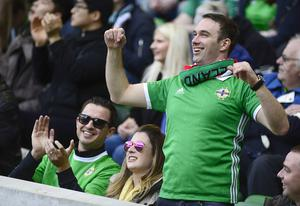 PACEMAKER BELFAST  24/03/2018 Northern Ireland v South Korea Friendly International. Northern Ireland fans pictured during todays game at the National Stadium Windsor Park in Belfast. Picture By: Arthur Allison/Pacemaker Press
