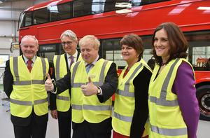 Mayor of London Boris Johnson is pictured at Wrightbus Antrim plant at the announcement of a further 200 Route Master Buses to the Transport of London order worth £62 Million. The £62 Million order was confirmed during a visit to the chassis plant in Antrim.Also pictured are deputy First Minister Martin McGuinnes, Mark Nodder OBE, Chairman and CEO Wrightbus, First Minister Arlene Foster and Secretary of State Theresa Villiers. Photo by Simon Graham/Harrison Photography.