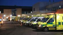 Rows of ambulances , many with patients inside, in the car park outside Antrim Area hospital this evening,  PICTURE BY STEPHEN DAVISON