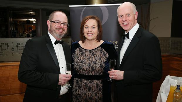 Peter Hall, Joanne Stuart and Frank Bryan at the Institute of Directors NI Annual Dinner at the Europa Hotel on Thursday night. Sponsored by Bank of Ireland and Arthur Cox, the event is the highlight of the local business calendar and was attended by over 250 people.  Picture by Kelvin Boyes / Press Eye.