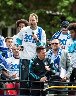 Chelsea's Petr Cech during a parade to celebrate winning the Barclays Premier League, in London. PRESS ASSOCIATION Photo. Picture date: Monday May 25, 2015. See PA story SOCCER Chelsea. Photo credit should read: Daniel Hambury/PA Wire.