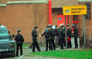 Police at the scene of the shooting at the Kennedy Way depot in 1993