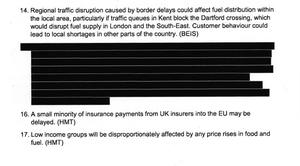 Part of the document was redacted (UK Government/PA)