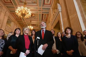 Sinn Fein President and Michelle O'Neill  with Party MLA's during a media Call at Stormont