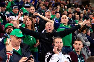 Northern Ireland fans in the stands during the 2018 FIFA World Cup Qualifying, Group C match at Windsor Park, Belfast. PRESS ASSOCIATION Photo. Picture date: Thursday October 5, 2017. Niall Carson/PA Wire.