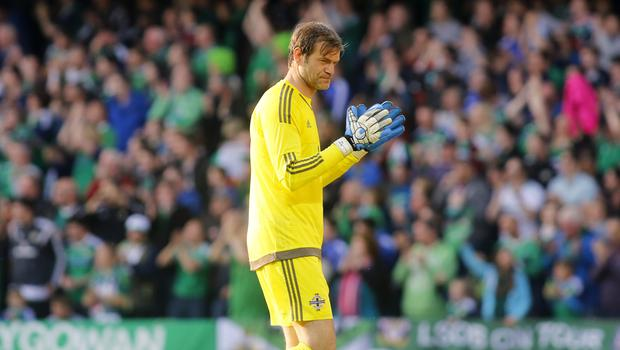 Picture - Kevin Scott / Presseye  Belfast , UK - May 27, Pictured is Northern Irelands Roy Carroll celebrating in action during the last home game before heading to the Euros on May 27 2016 in Belfast , Northern Ireland ( Photo by Kevin Scott / Presseye)