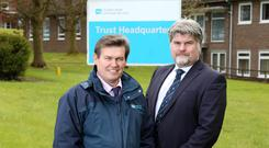John Mitchell, Telecoms Manager, Southern Health & Social Care Trust with Richard Eccles, Account Director, Health Sector at BT Business in Northern Ireland