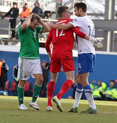 Northern Ireland's Jamie Ward misses a chance saved by Finland goal keeper Lukas Hradecky during Sunday's UEFA EURO 2016 Group F Qualifier at Windsor Park. Brian Little/Presseye.