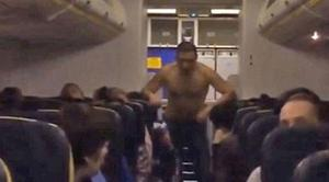 The plane was travelling from Riga to Dublin when the man started behaving strangely