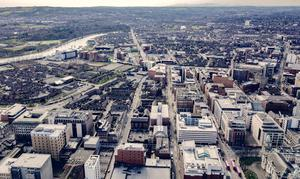 Aerial images showing Belfast city centre after lockdown. Pic Kevin Scott