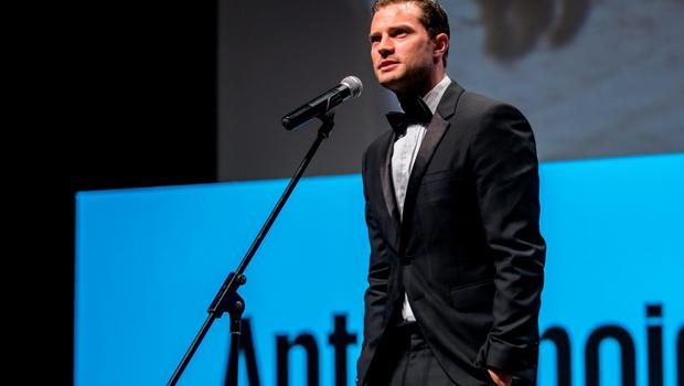 KARLOVY VARY, CZECH REPUBLIC - JULY 01:  Actor Jamie Dornan attends world premiere of Anthropoid movie during the opening ceremony of the 51st Karlovy Vary International Film Festival (KVIFF) on July 1, 2016 in Karlovy Vary, Czech Republic.  (Photo by Matej Divizna/Getty Images)