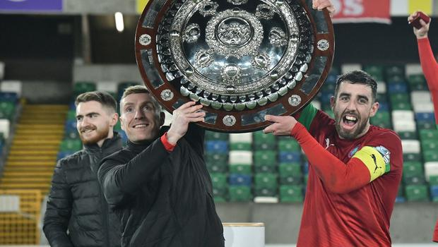 PACEMAKER BELFAST 21/01/2020 Cliftonville v Ballymena County Antrim Shield Final Cliftonville's Joe Gormley and Chris Curran   celebrate winning the Co Antrim Shield Final this evening at Windsor Park in Belfast. Photo Colm Lenaghan/Pacemaker Press