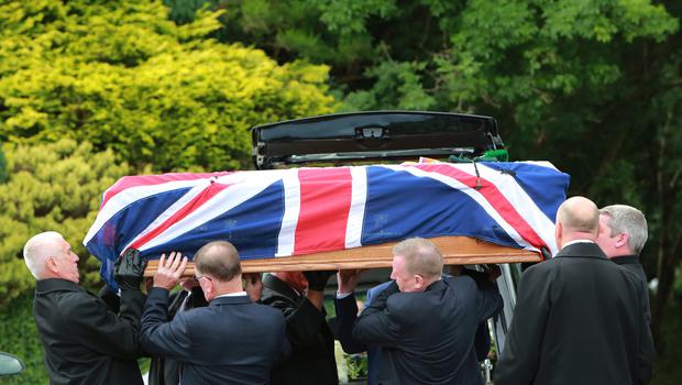 The Funeral of Willie Frazer takes place at Five Mile Hill Full Gospel Fellowship Church on the Maytown Road, County Armagh, Monday July 1st, 2019. (Photo by Paul McErlane for the Belfast Telegraph)