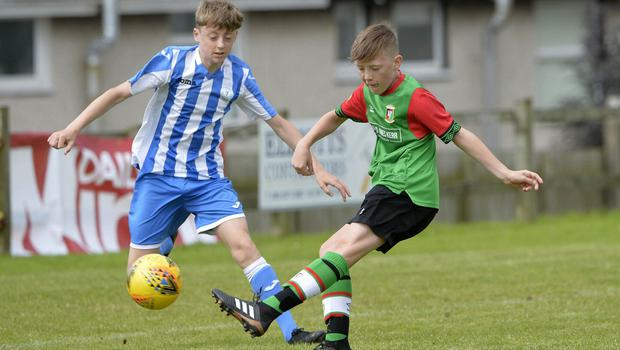 1st August 2019  Statsports Supercup NI 2019  Minor section semi final  match between Glentoran and Finn Harps at Seahaven in Portstewart. Glentorans Jude Johnson  in action with Finn Harps Liam Carlin  Mandatory Credit : Stephen  Hamilton/Presseye