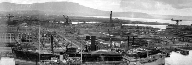 WORLD WAR II: BELFAST AIR RAIDS. HARLAND & WOLFF. 4/5 May 1941. Harland and Wolff general view of part of the shipyard, damaged by air raids. AR 103.