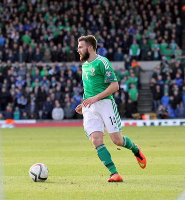 Northern Ireland's Stuart Dallas during today's game at Windsor Park in Belfast. David Maginnis/Pacemaker Press.