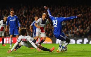 LONDON, ENGLAND - APRIL 08:  Demba Ba of Chelsea scores their second goal during the UEFA Champions League Quarter Final second leg match between Chelsea and Paris Saint-Germain FC at Stamford Bridge on April 8, 2014 in London, England.  (Photo by Mike Hewitt/Getty Images)