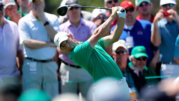 Rory McIlroy of Northern Ireland plays a shot during a practice round prior to the Masters at Augusta National Golf Club on April 10, 2019 in Augusta, Georgia. (Photo by David Cannon/Getty Images)