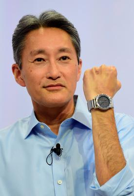 Japan's electronics giant Sony president Kazuo Hirai displays Sony's Wena (Wear Electronics Naturally) smartwatch during a presentation ahead of the opening of the 55th IFA (Internationale Funkausstellung), on September 2, 2015 in Berlin. IFA, one of the world's biggest consumer electronics shows, opens for the media before the public is invited from September 4 to 9.  AFP PHOTO / JOHN MACDOUGALLJOHN MACDOUGALL/AFP/Getty Images
