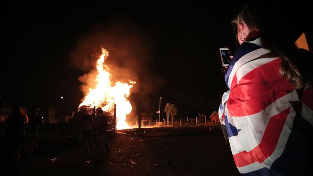 The Lower Shankill bonfire in west Belfast. [Photo by Kelvin Boyes / Press Eye 11-07-17]