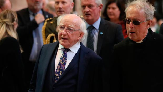 President Michael D Higgins before the funeral service for murdered journalist Lyra McKee at St Anne's Cathedral in Belfast.