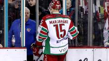 Cardiff Devils winger Masi Marjamaki is ejected from Sunday's game against the Belfast Giants after injuring David Goodwin (William Cherry/Presseye)