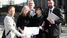 Friends of Woodburn Forest at Belfast High Court to hear the outcome of the affidavit against the Stop the Drilling campaign.  Picture by Freddie Parkinson/Press Eye