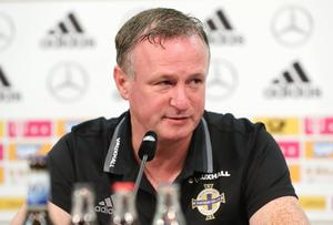 Northern Ireland manager Michael O'Neill during Mondays press conference at the HDI Arena, Hannover, ahead of Tuesdays World Cup 2018 Qualifier. Photo by William Cherry