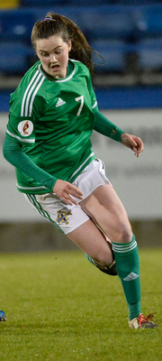 Having a ball: Armagh ladies footballer Aimee Mackin in action with Northern Ireland ladies soccer team