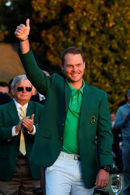 AUGUSTA, GEORGIA - APRIL 10:  Danny Willett of England celebrates with the green jacket after winning the final round of the 2016 Masters Tournament at Augusta National Golf Club on April 10, 2016 in Augusta, Georgia.  (Photo by Harry How/Getty Images)