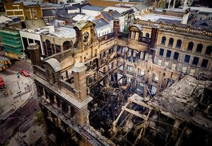 Aerial views showing the aftermath of the fire in the Bank Buildings - Primark Belfast - August 29th 2018 (Photo by Kevin Scott)